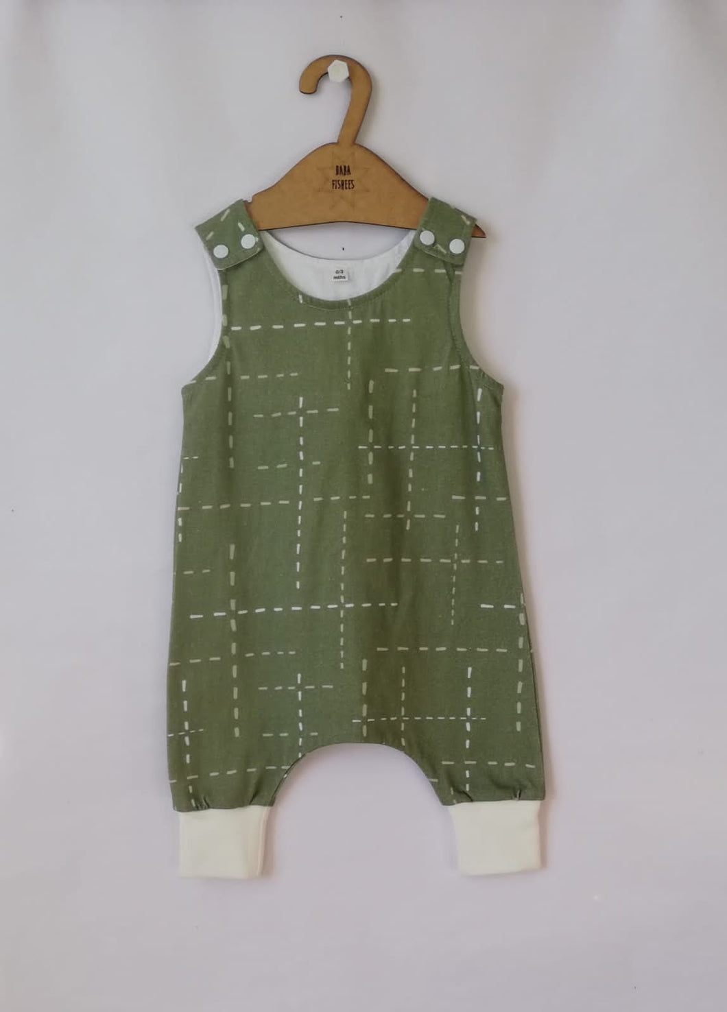 HAAREM ROMPER - GREEN WITH DASHLINES