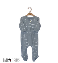 Load image into Gallery viewer, ZIPPY ROMPER FOOTY - BLUE GREY DASHLINES