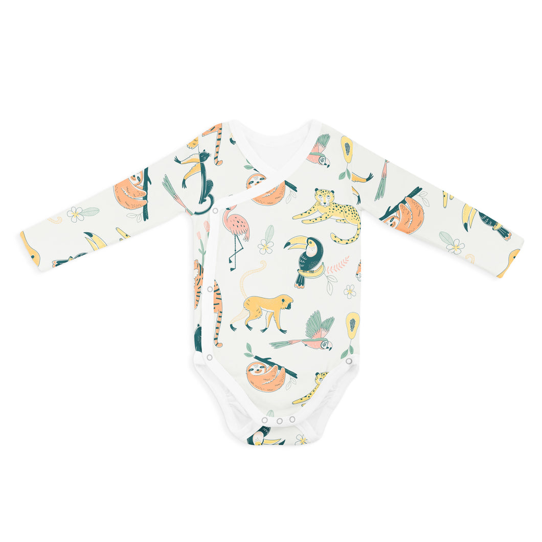 WRAP ONESIE - LONG SLEEVE ANIMAL FRIENDS