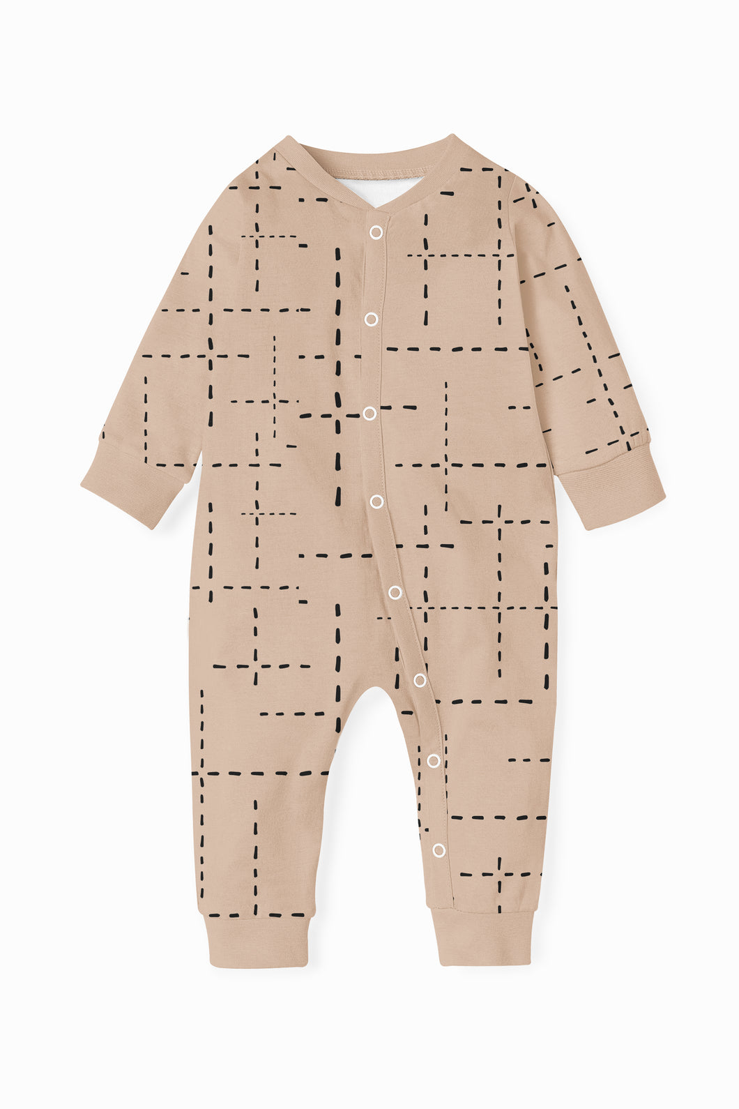 ZIPPY ROMPER  - BLUSH PINK WITH BLACK DASHED LINES AW20