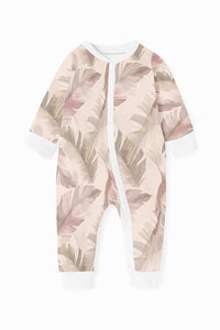 ZIPPY ROMPER - PINK WHISPY FEATHER