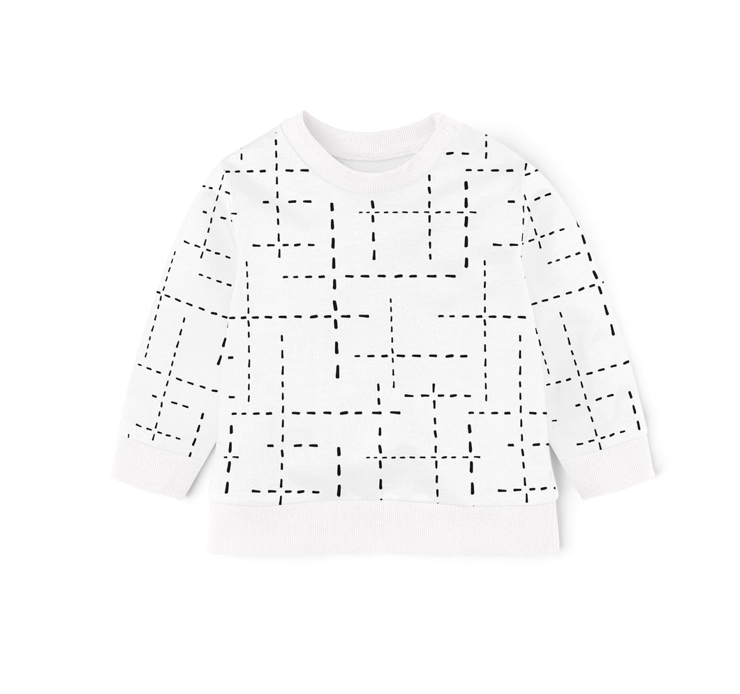 SWEAT SHIRT - WHITE WITH BLACK DASHED LINES AW20