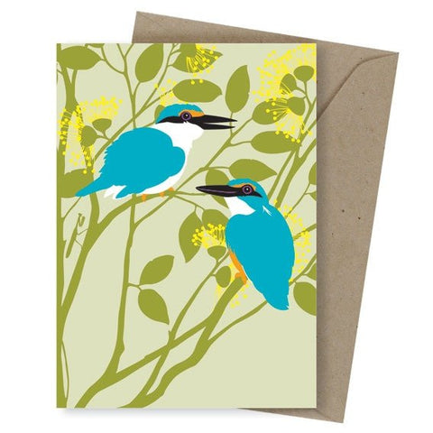 "Greeting Card ""Azure Kingfishers"""