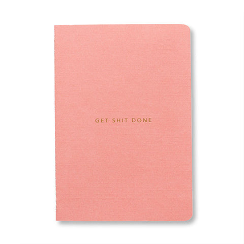 Mi Goals - Gold Foil Get Shit Done Notebook in Coral