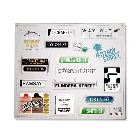 Iconic Street Signs Magnet Set
