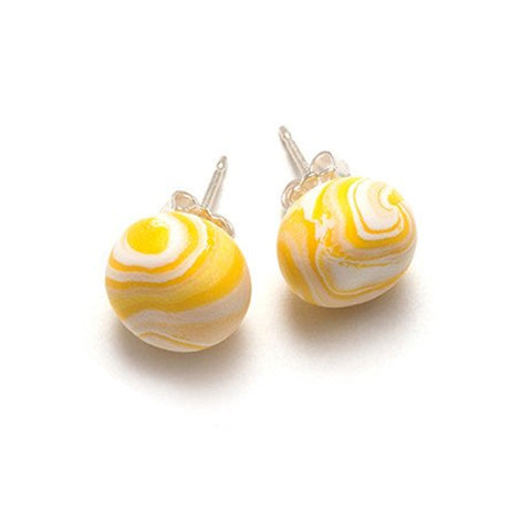 Yellow Marble Stud Earrings
