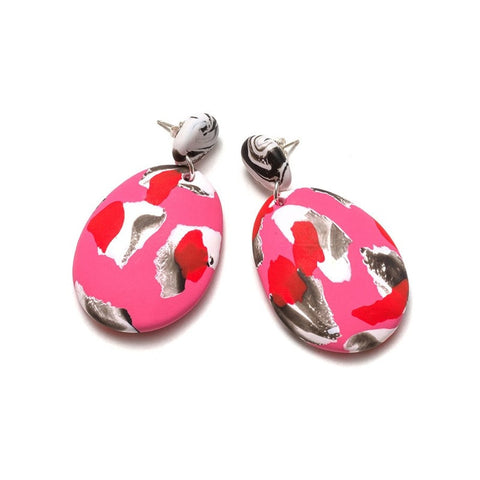Emily Green - Lipstick and Pink Collage Drop Earrings