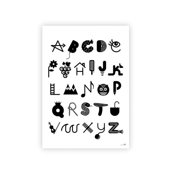 Illustrated Alphabet Poster - Monochrome
