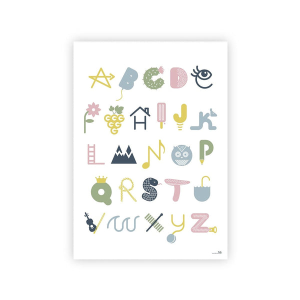 Illustrated Alphabet Poster - Dusty