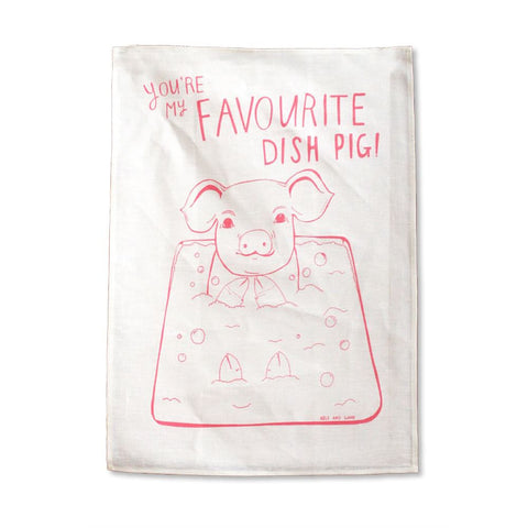 Able and Game Favourite Dish Pig Tea Towel