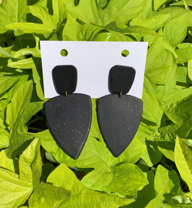 ERICA - Black Sparkle Polymer Clay Fall Earrings - large