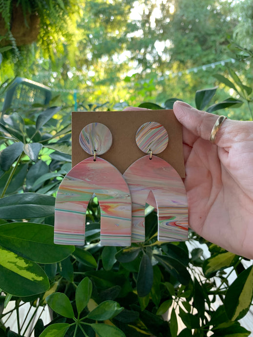 ARCHES - Colorful Striped Polymer Clay Arch Earrings