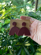 Load image into Gallery viewer, ARCHES - Deep Red Polymer Clay Arch Earrings