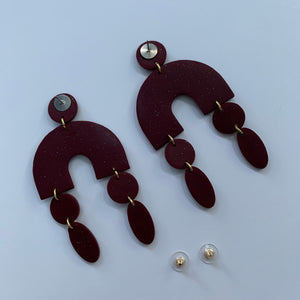 ARCHES - Dark Red Broken Arched Polymer Clay Arch Earrings
