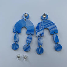Load image into Gallery viewer, ARCHES - Blue and White Marbled Polymer Clay Earrings