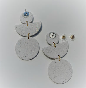 EISLEY - Off White Speckled Polymer Clay Earring- small