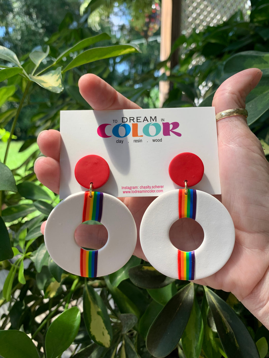 DONUT - Rainbow Pride Polymer Clay Earrings- large
