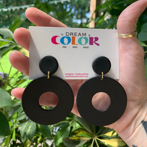 DONUT - Matte Black Polymer Clay Earrings- large