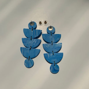 STACKS - Blue and White Marbled Polymer Clay Earrings - small