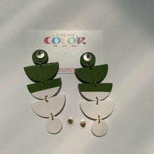 Load image into Gallery viewer, STACKS - Green and White Polymer Clay Earrings - small