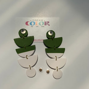 STACKS - Green and White Polymer Clay Earrings - small