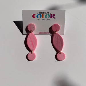 DANGLE - Pink and White Marbled Polymer Clay Earrings