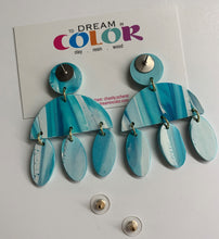 Load image into Gallery viewer, CLARE- Blue and White Marbled Polymer Clay Fall Earrings - small