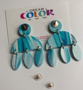 CLARE- Blue and White Marbled Polymer Clay Fall Earrings - small