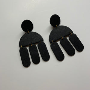CLARE- Black Sparkle Polymer Clay Fall Earrings - large