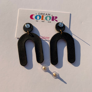 ARCHES - Black Sparkle Arched Polymer Clay Earrings