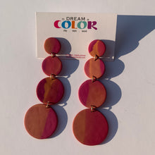 Load image into Gallery viewer, CIRCLES -  Marbled Polymer Clay Earrings - large