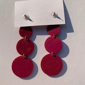CIRCLES -  Marbled Polymer Clay Earrings - large