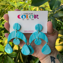 Load image into Gallery viewer, MISC - Teal and White Marbled Polymer Clay Earrings