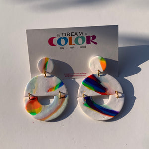 TRACY - Abstract Marbled Polymer Clay Earrings - small