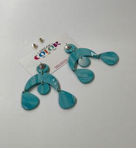 MISC - Teal and White Marbled Polymer Clay Earrings