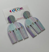 Load image into Gallery viewer, CLARE-  Unicorn Marbled Polymer Clay Earrings - large