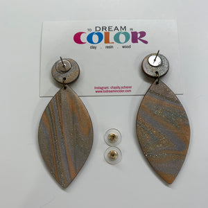 FEATHER - Metallic Marbled Polymer Clay Fall Earrings