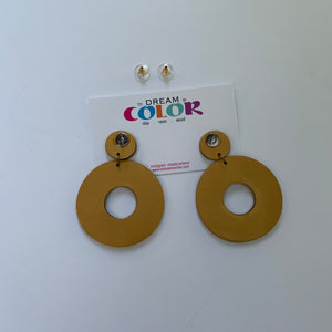 DONUT - Black and Gold Terrazzo Polymer Clay Earrings - large