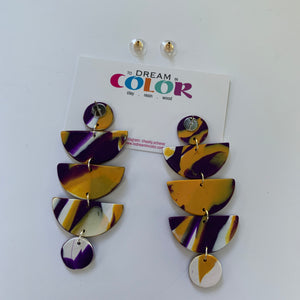 STACKS - Purple and Gold Marbled Polymer Clay Earrings
