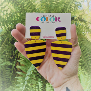 ERICA - Purple and Gold Striped Glitter Polymer Clay Earrings - large