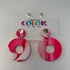 DONUT - White and Hot Pink Marble Polymer Clay Earrings - medium