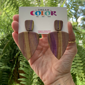 ERICA - Wood Grain Marble Polymer Clay Earrings - small
