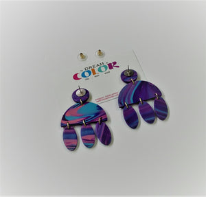 CLARE - Bubblegum Marbled Polymer Clay Earrings - small