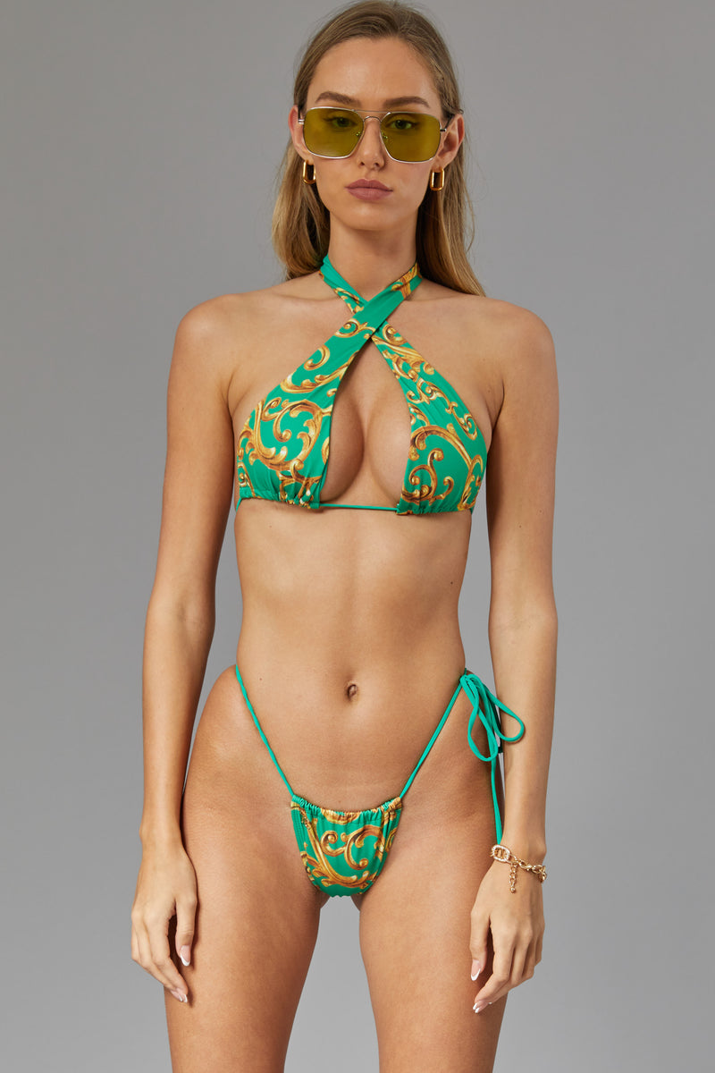 Flexing side tie bottom - Green baroque