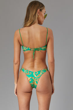 Brazilian high cut bottom - Green baroque