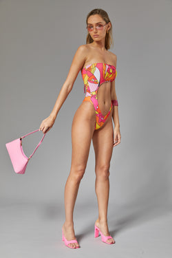 Strapless half moon one piece - Wild ocean pink