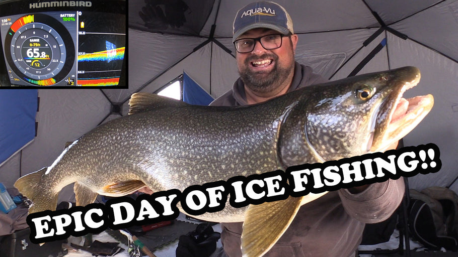 My Best Day of Ice Fishing Ever! | BIG LAKE TROUT x 2!!