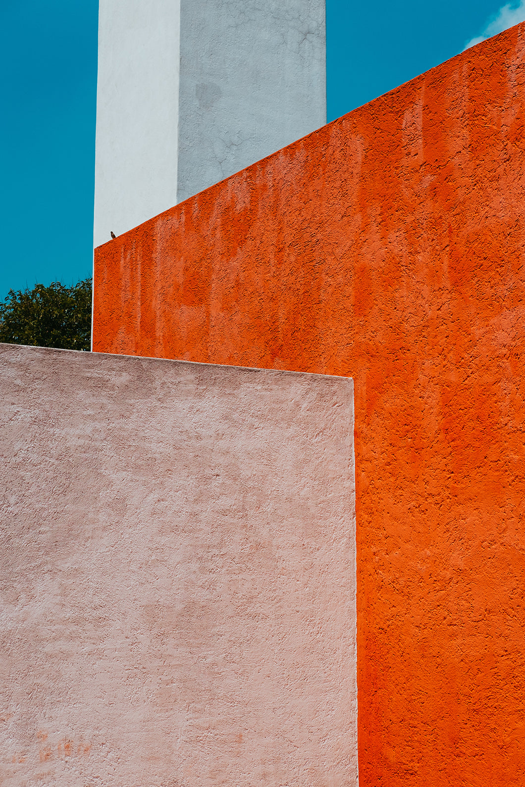 Architectural Geometry in Mexico City with Red, White and Pink Walls Close Up