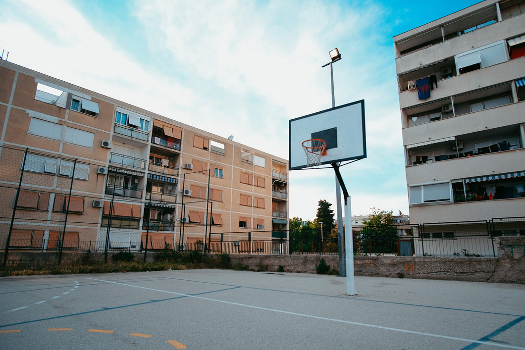 Basketball Hoop in Split Croatia Beside Apartment Complex