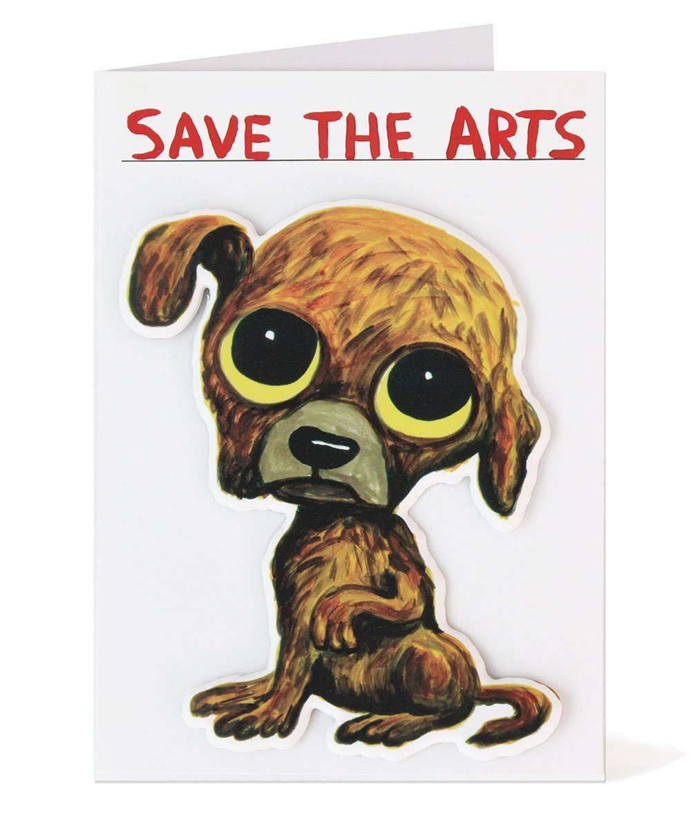 Save The Arts Puffy Sticker Card X David Shrigley